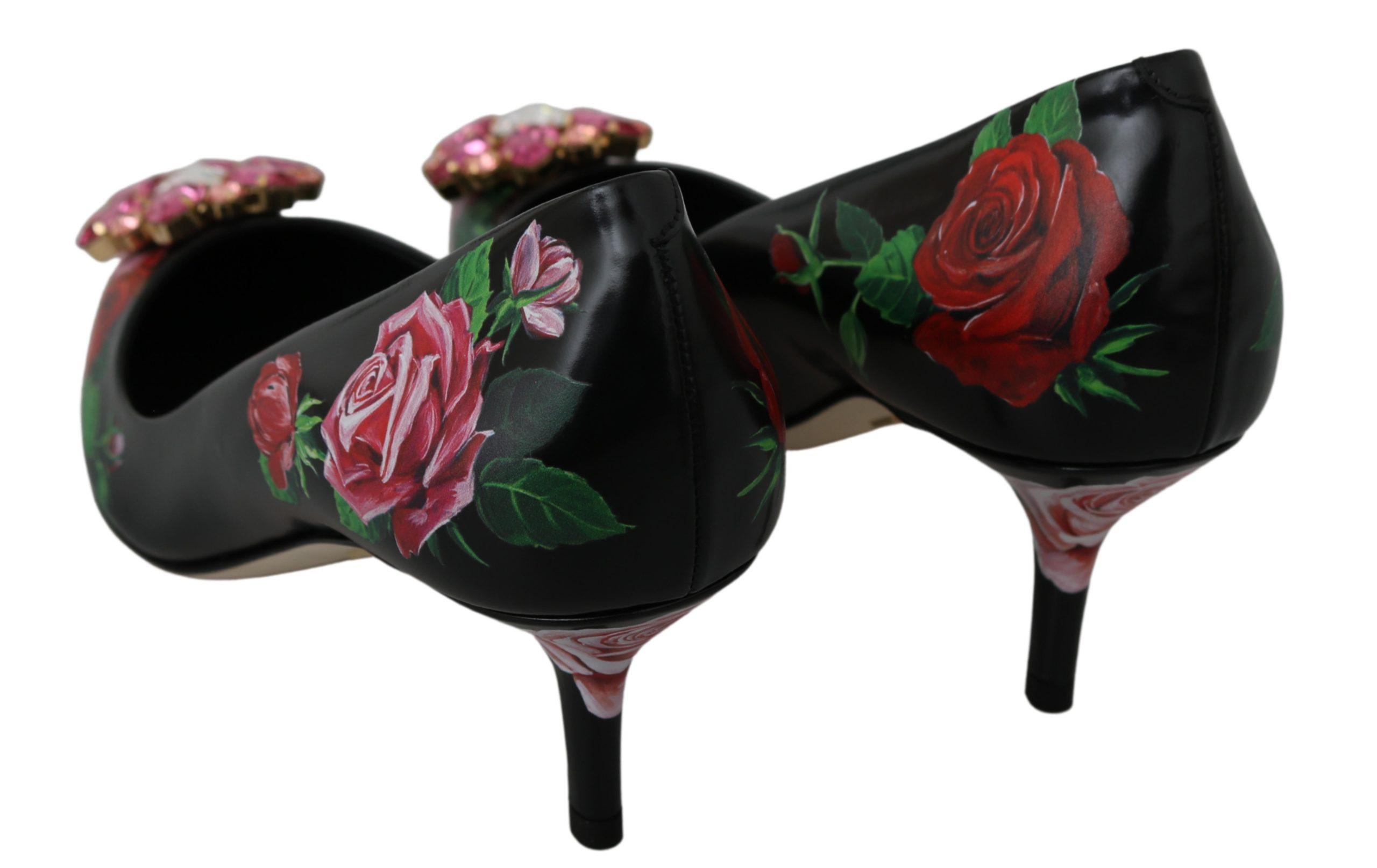 Dolce & Gabbana Women's Leather Crystal Roses Pumps Black LA6584 - EU36/US5.5