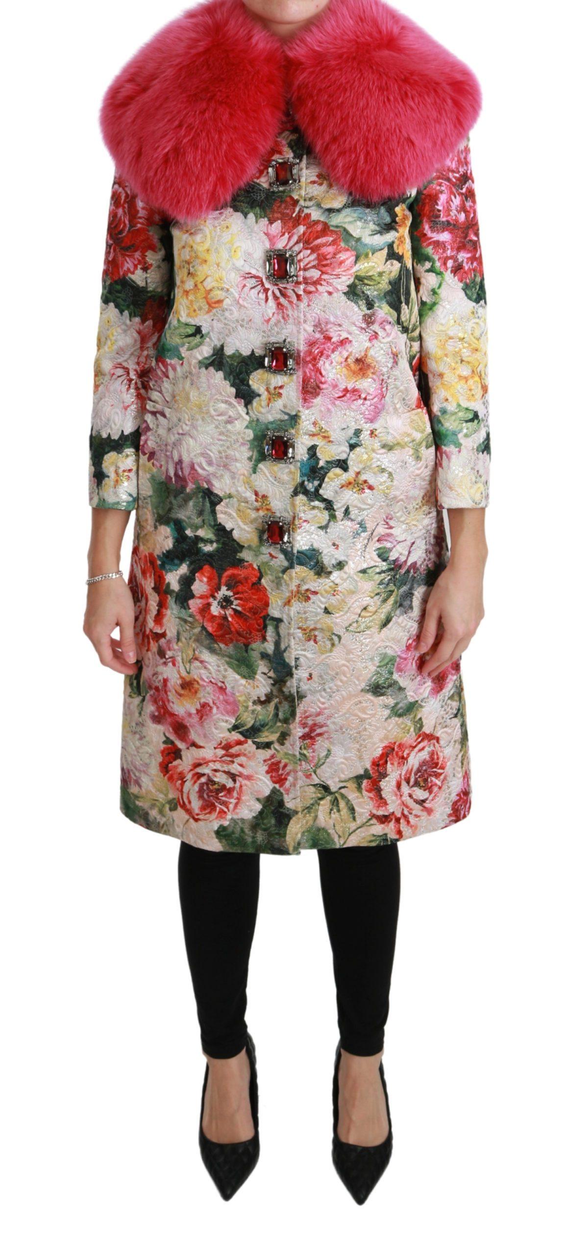 Dolce & Gabbana Women's Fur Floral Crystal Trenchcoat Jacket Pink JKT2570 - IT40 S