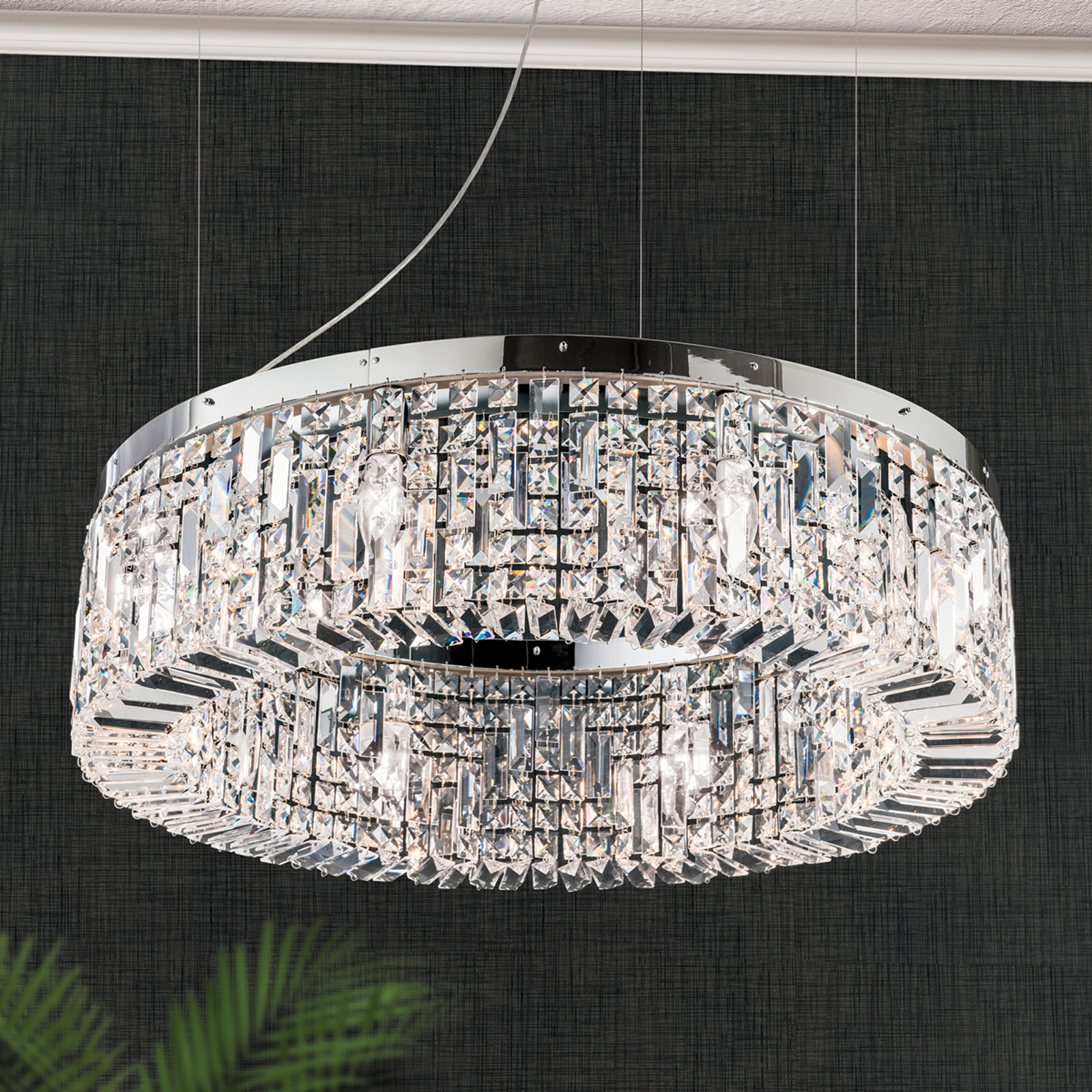 Loistava kristalliriippuvalaisin Ring, 80 cm kromi