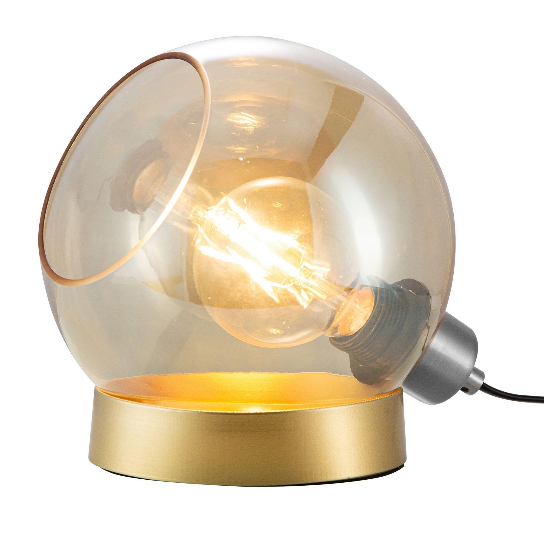 Bordlampe Toula, Ø 20 cm, glass, rav