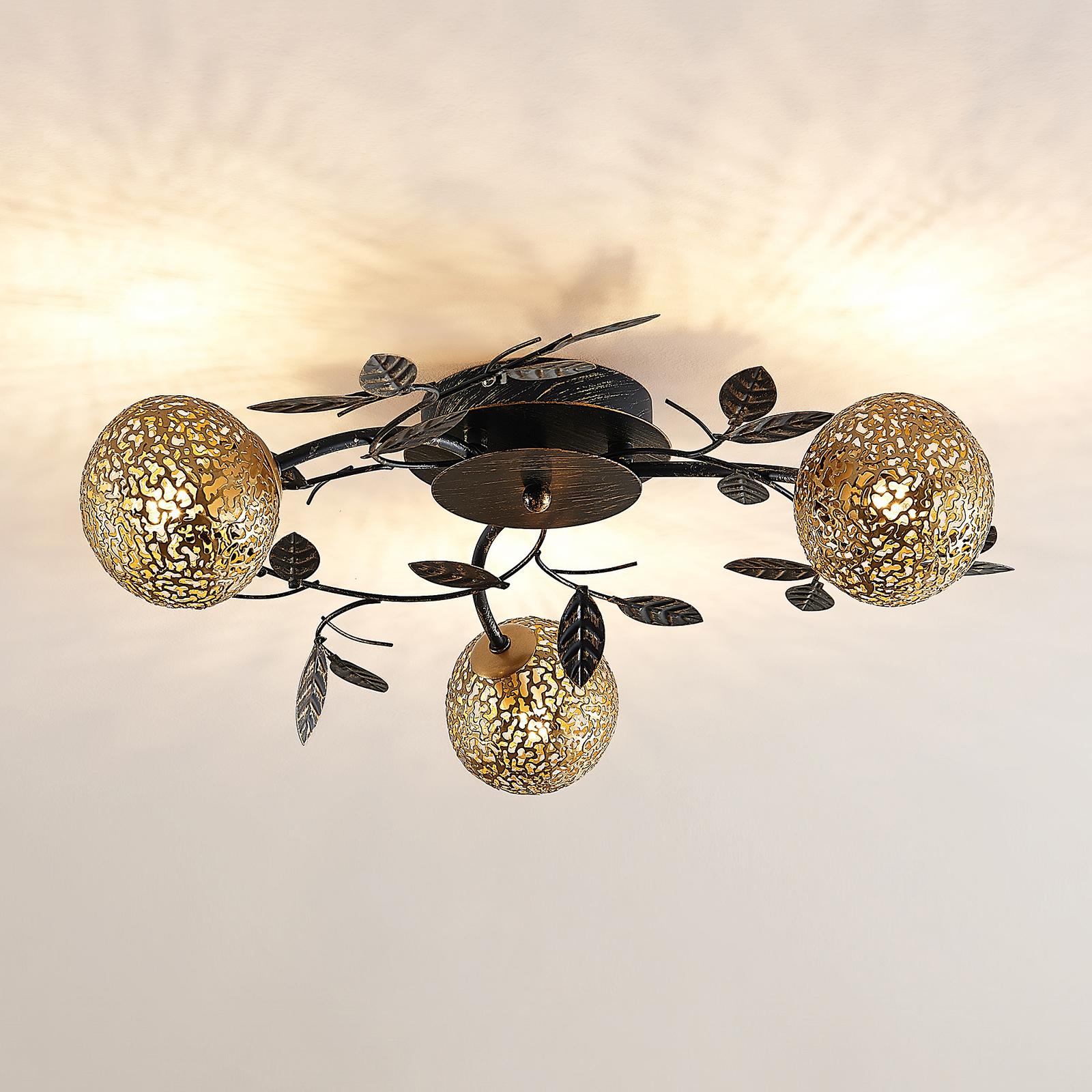 Lucande Evory -kattovalaisin, pyöreä 3-lamppuinen