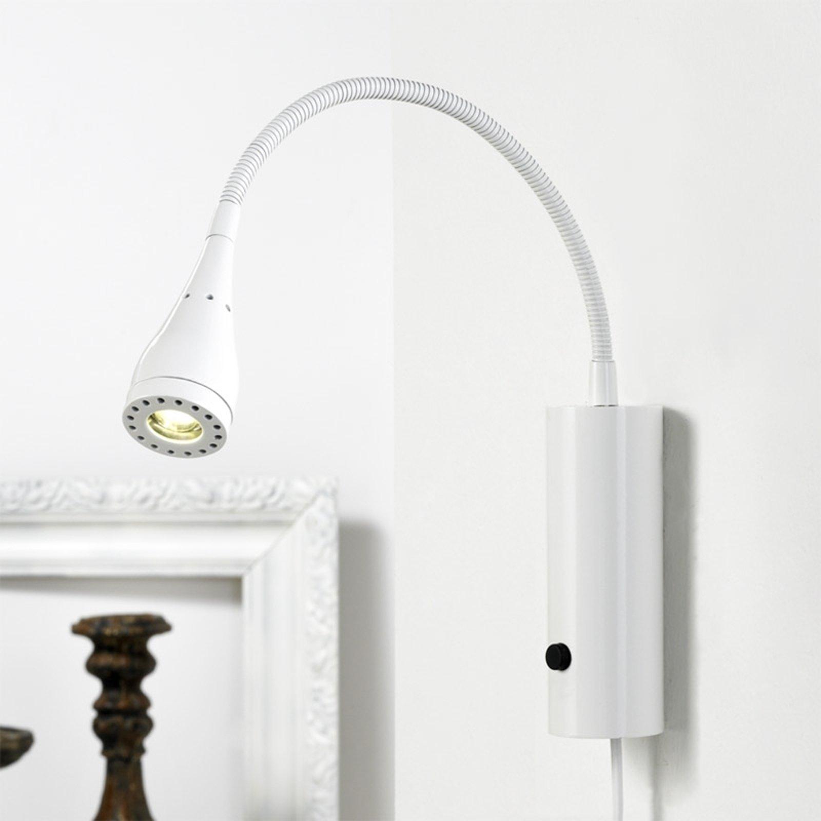 Mento LED-vegglampe i hvitt med fleksibel arm