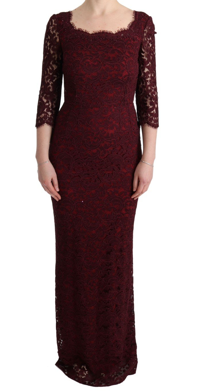 Dolce & Gabbana Women's Floral Ricamo Sheath Long Dress Bordeaux SIG60560 - IT40 S