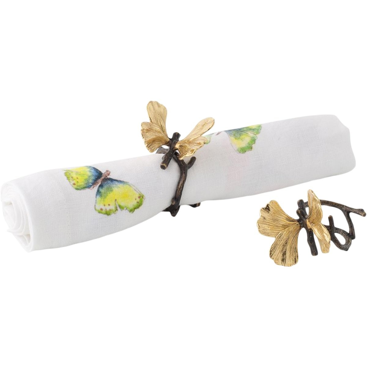 Michael Aram I Butterfly Ginkgo Set of 4 Napkin Rings