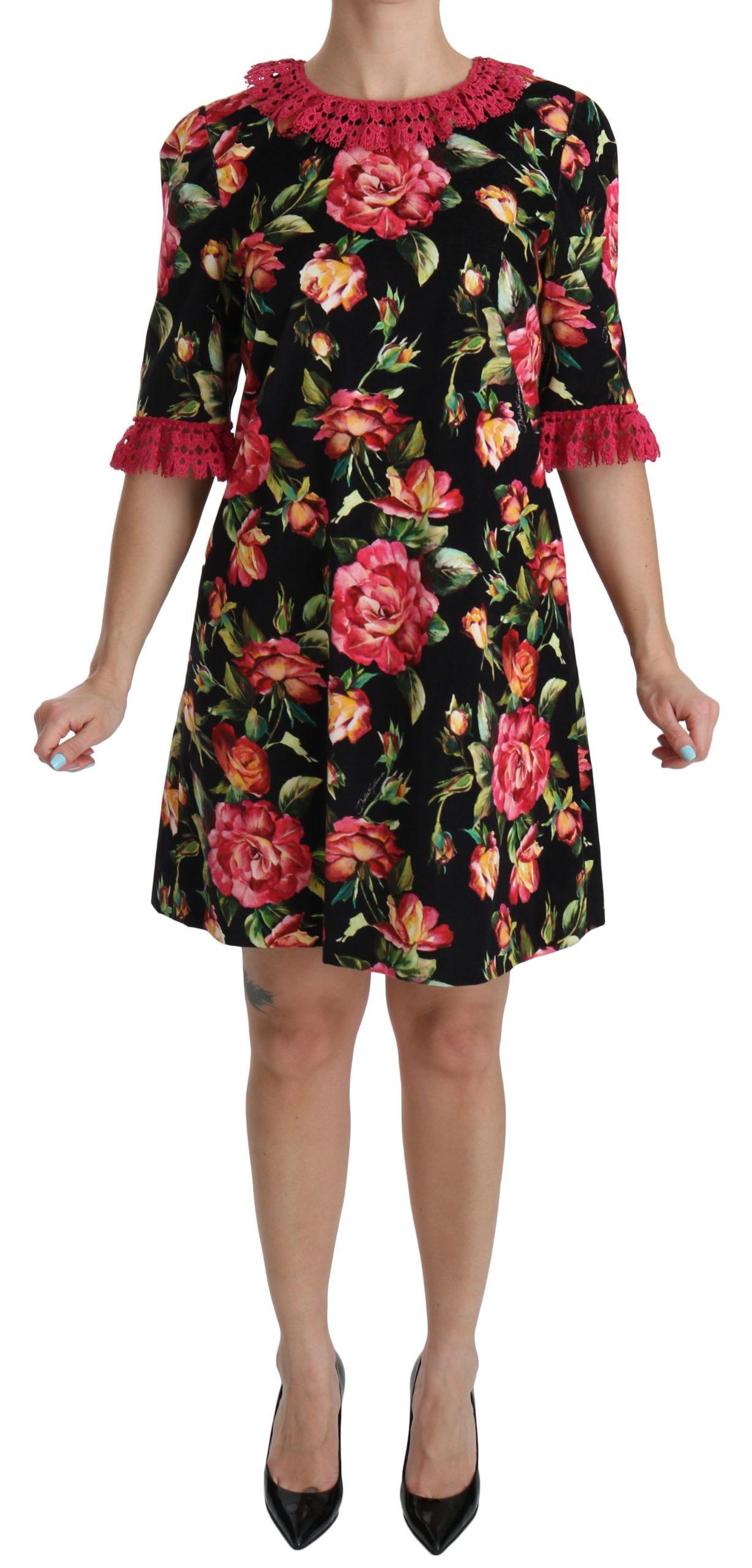 Dolce & Gabbana Women's Floral Roses Cotton Shift Dress Multicolor DR2044 - IT46|XL