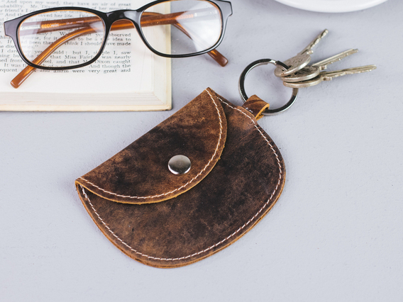 Leather Purse Keyring Small