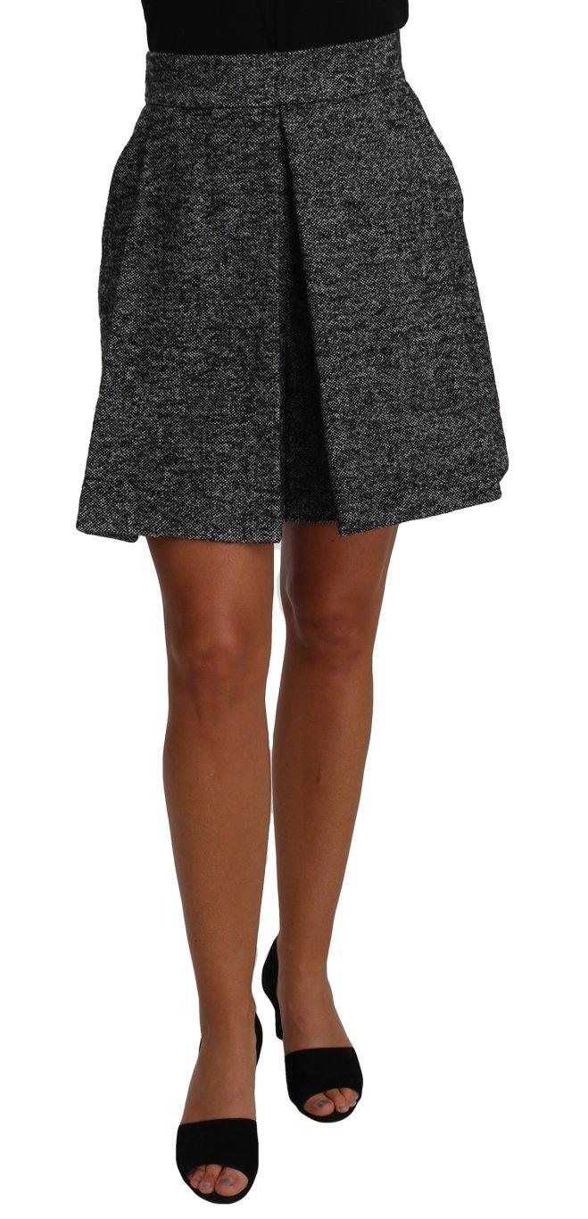 Dolce & Gabbana Women's Wool High Waist Mini Skirt Gray PAN61102 - IT38|XS