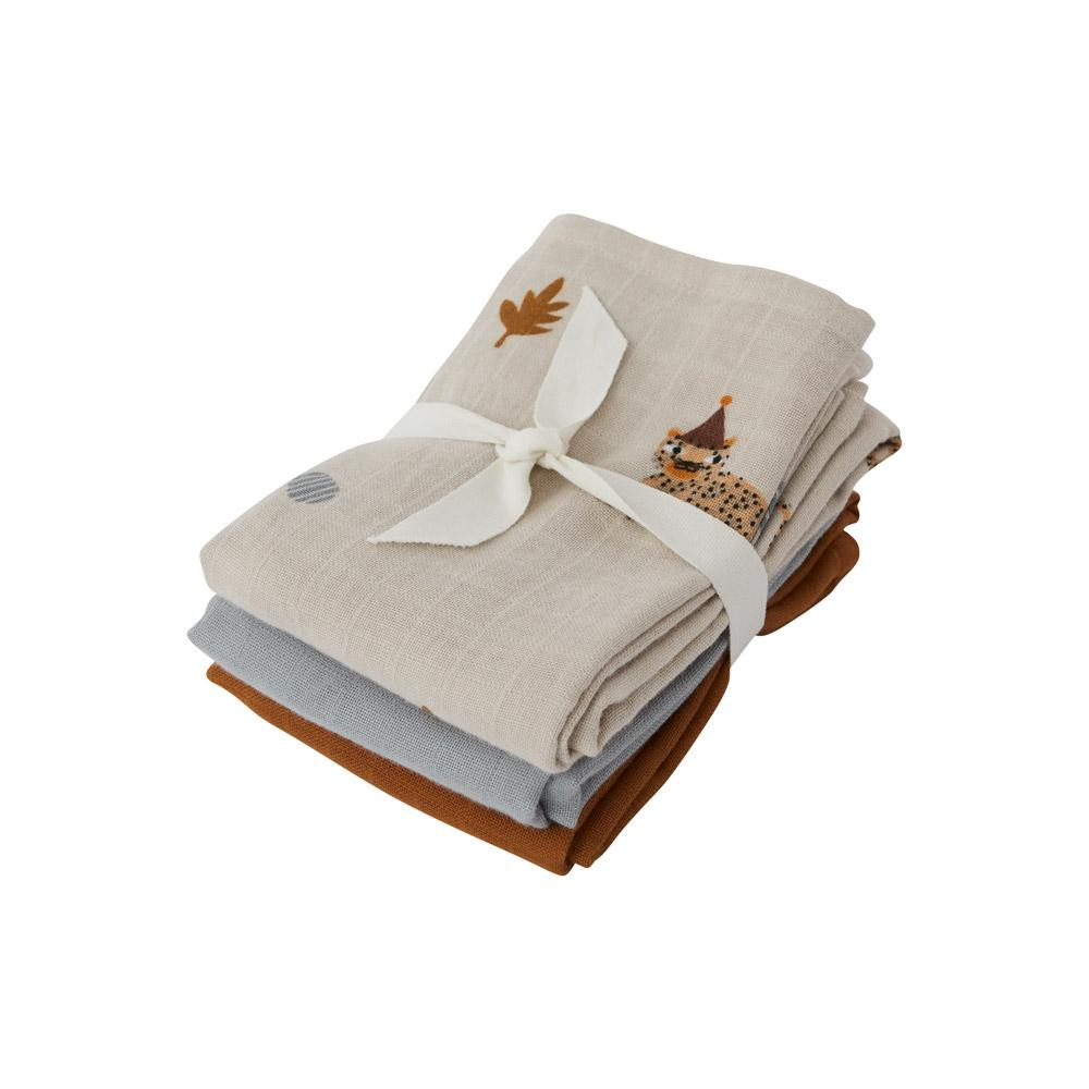 OYOY Mini - Organic Muslin Cloth Square, 3 pc - Leopard