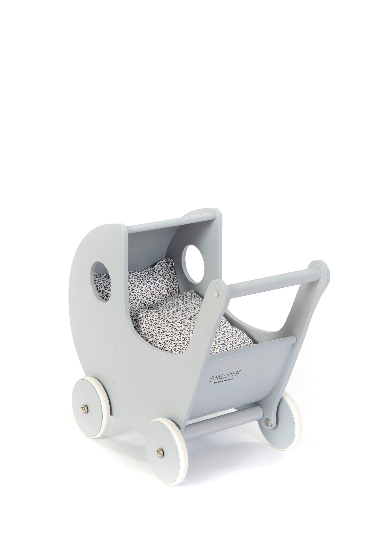 Smallstuff - Wooden Doll Stroller - Grey