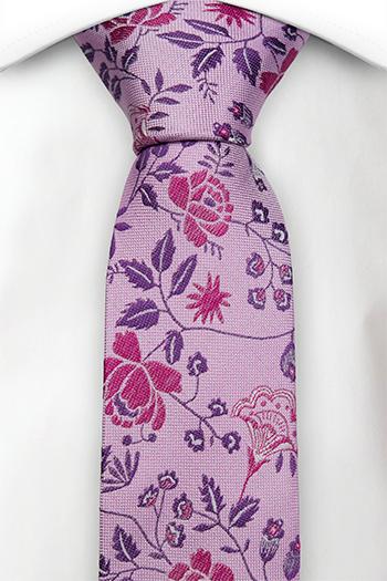 Silke Smale Slips, Kunstnerisk rosa & lilla blomstermønster, Lilla, Blomster