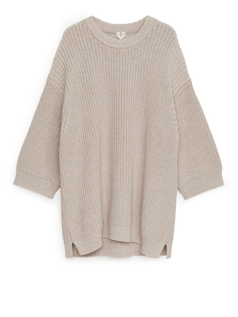 Oversized Cotton Blend Jumper - Beige