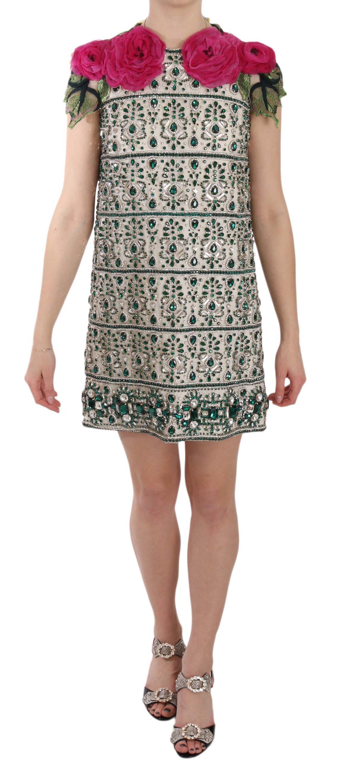 Dolce & Gabbana Women's Crystal Jewel Floral Sleeves Mini Dress Beige DR1624 - IT38   S