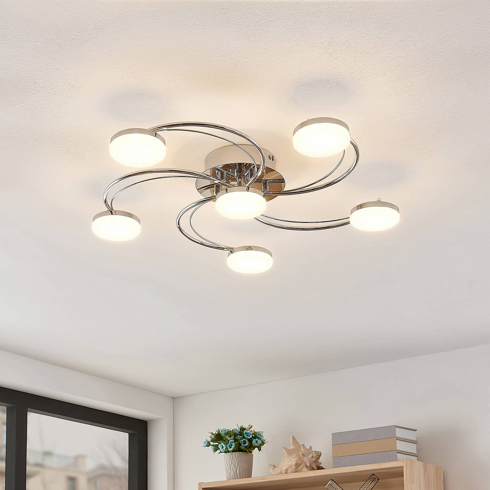 Lindby Rouven -LED-kattovalaisin, kaareva, 6-lamp.