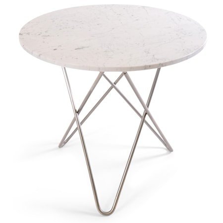 O Table Spisebord Rustfritt Stål/Hvit Marmor Ø80