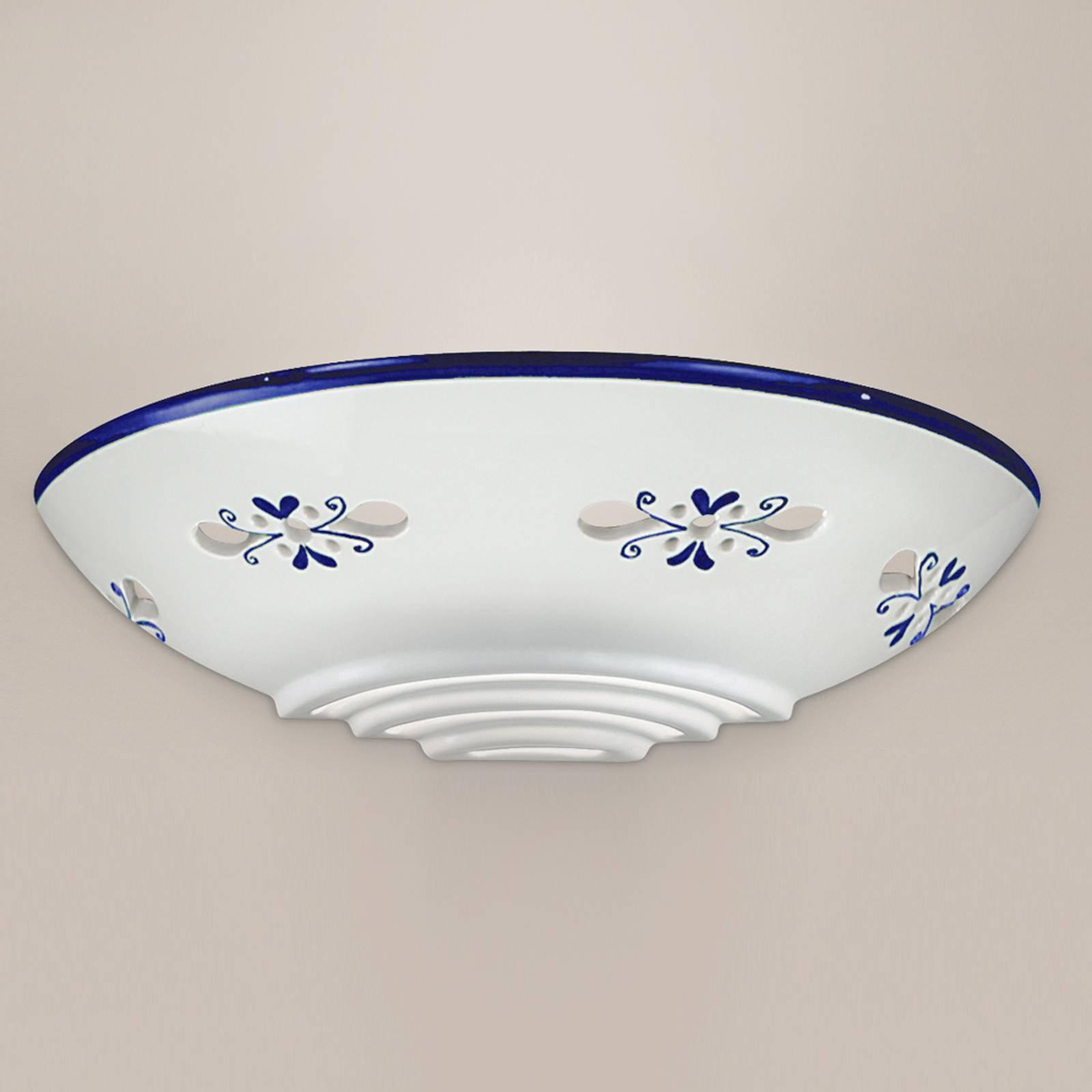 Vegglampe Bassano av keramikk, flat, blå