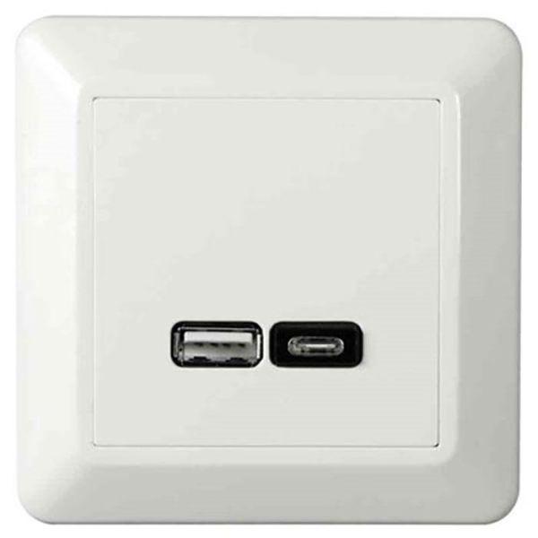 Elko EKO07079 Ladeuttak USB/USB-C, hvit