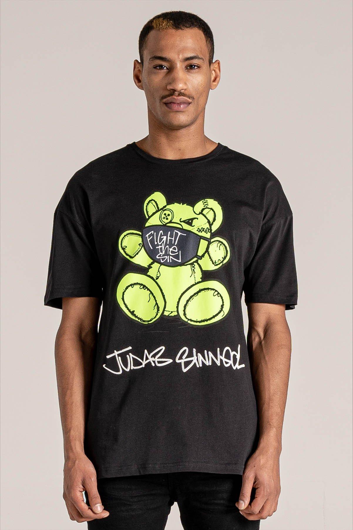 Fight Mask Bear Print Men's T-Shirt - Black, XX-Large