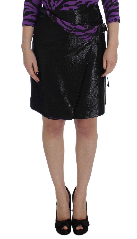 Exte Women's Wool Silk Above Knee Straight Skirt Black SIG32485 - IT42 M