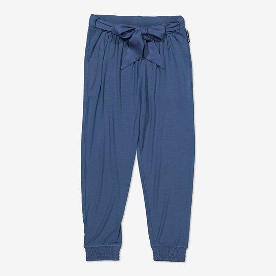 Bukse med knytebelte blå