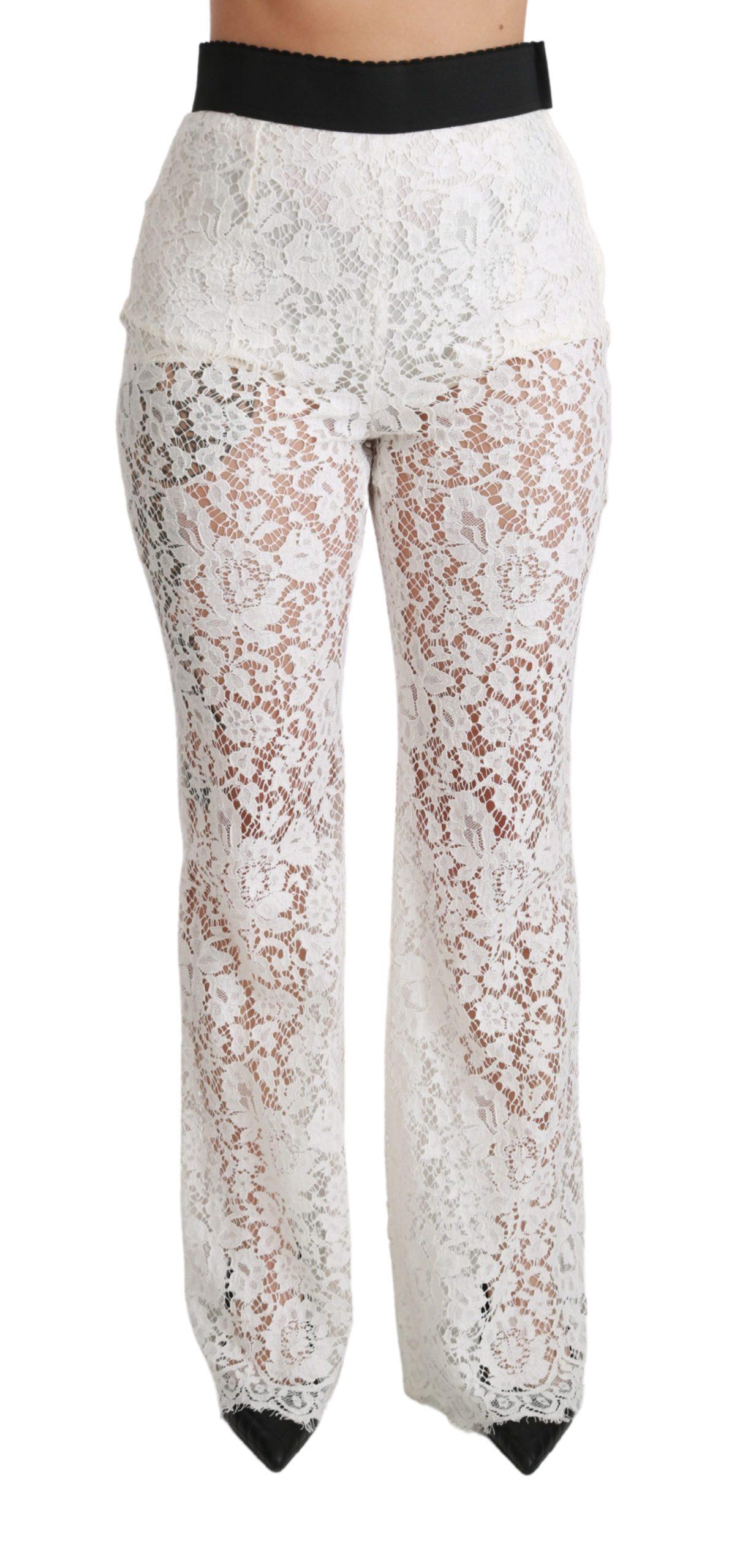 Dolce & Gabbana Women's Lace High Waist Palazzo Cropped Trouser White PAN70815 - IT42 M
