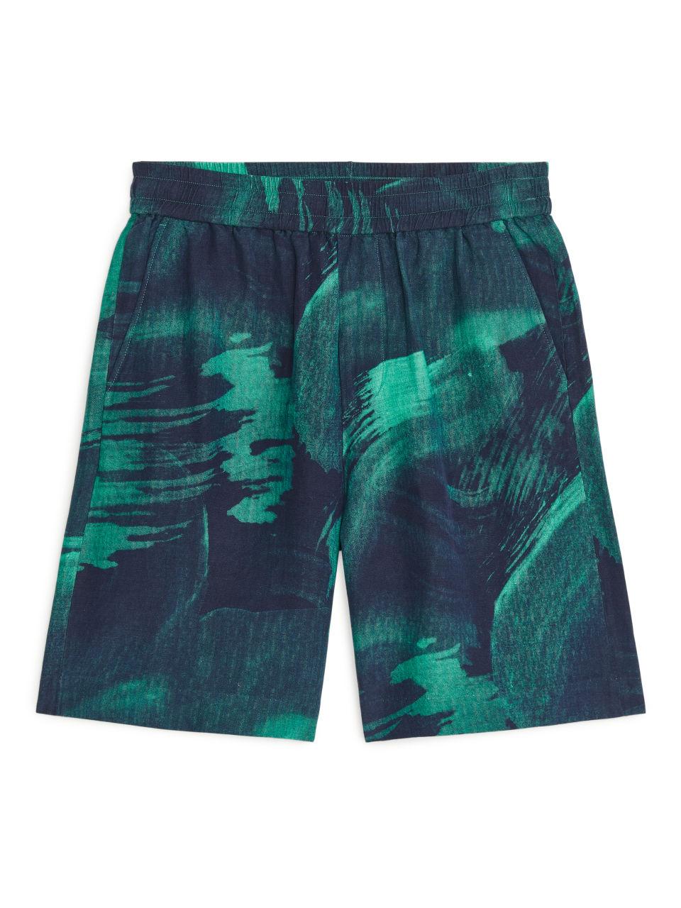 Linen-Silk Shorts - Green