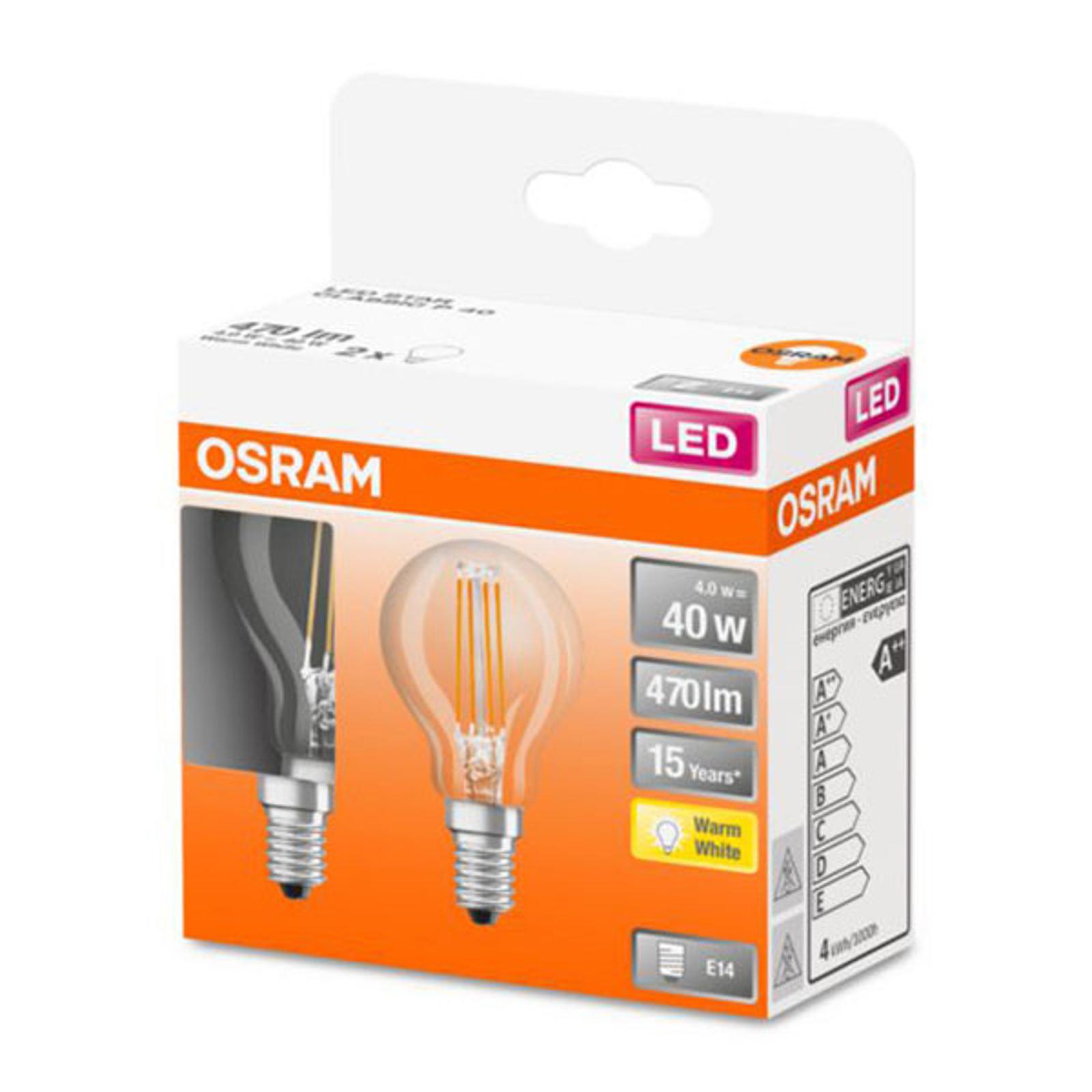 OSRAM Classic P -LED-lamppu E14 4W 2 700 K 2 kpl