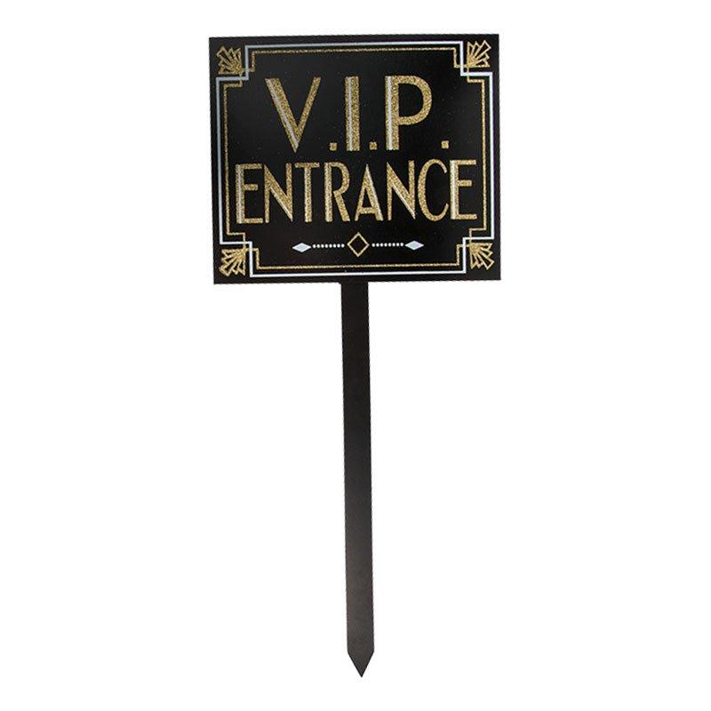 VIP Entrance Glitter Skylt på Pinne