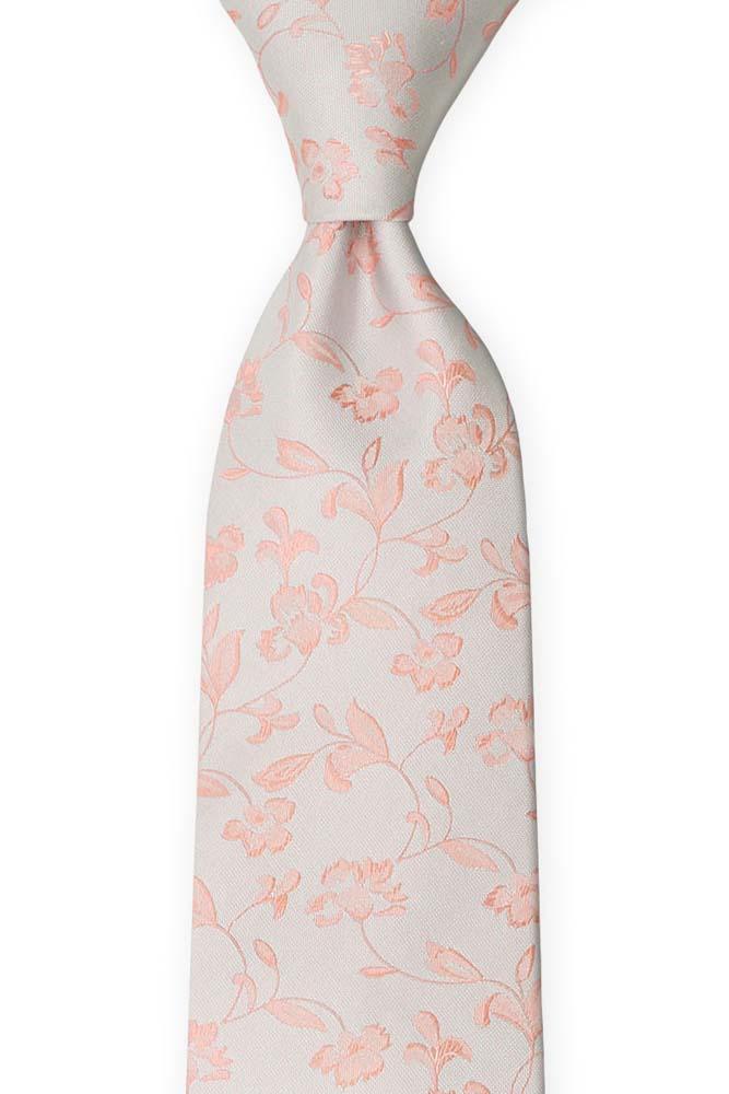 Silke Slips, Stiliserte rødmerosa blomster på sølvgrått