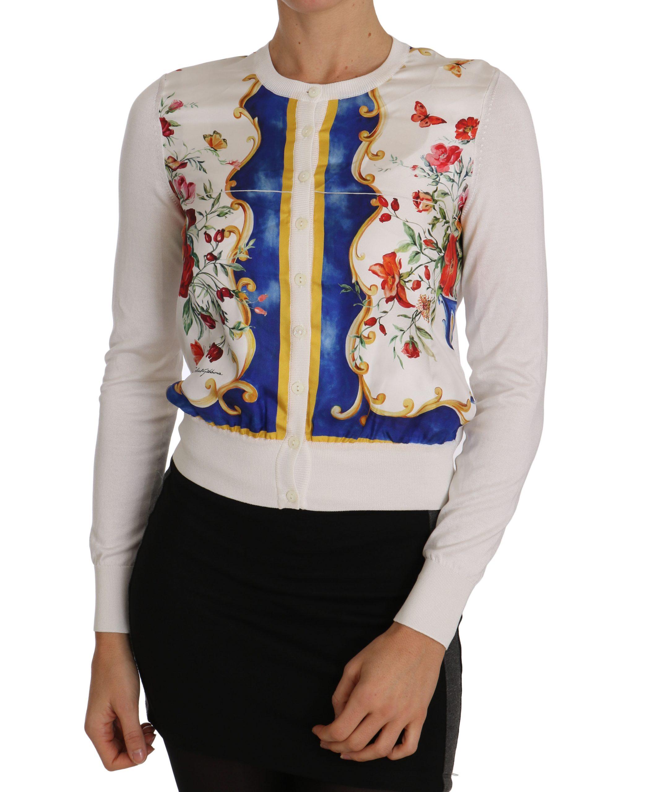 Dolce & Gabbana Women's Majolica Floral Silk Cardigan White TSH2280 - IT38|XS