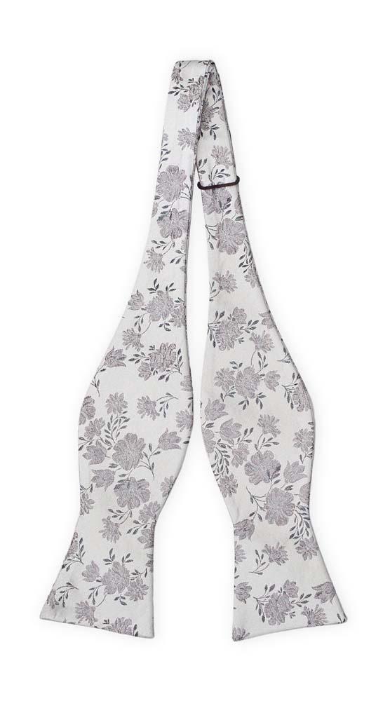 Silke Sløyfer Uknyttede, Grå blomster på sølvbunn, Sølv, Blomstermotiv