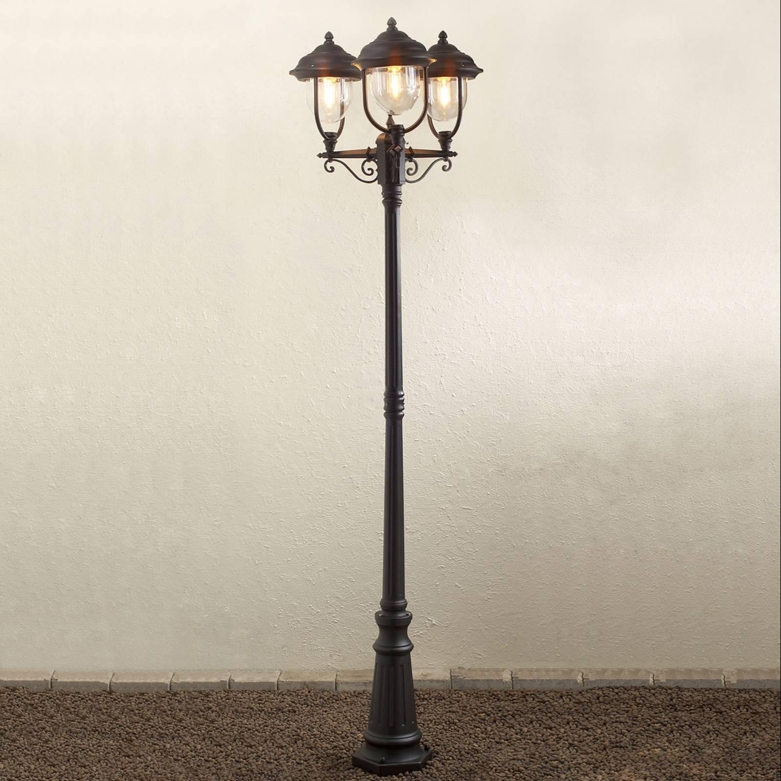 Romanttinen 3-lamppuinen kynttelikkö PARMA musta