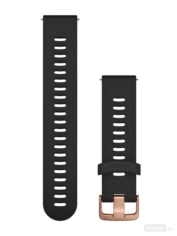 Garmin 20mm Svart silikonarmband med roséguldfärgade detaljer