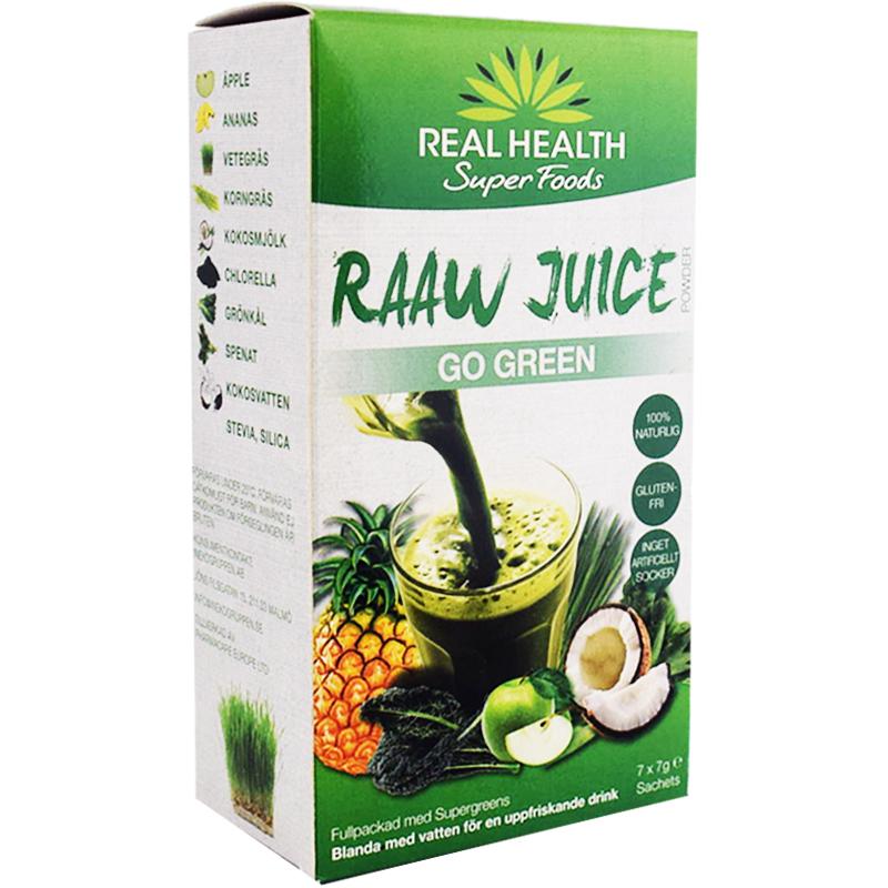 """Råjuice """"Go Green"""" 7 x 7g - 83% rabatt"""