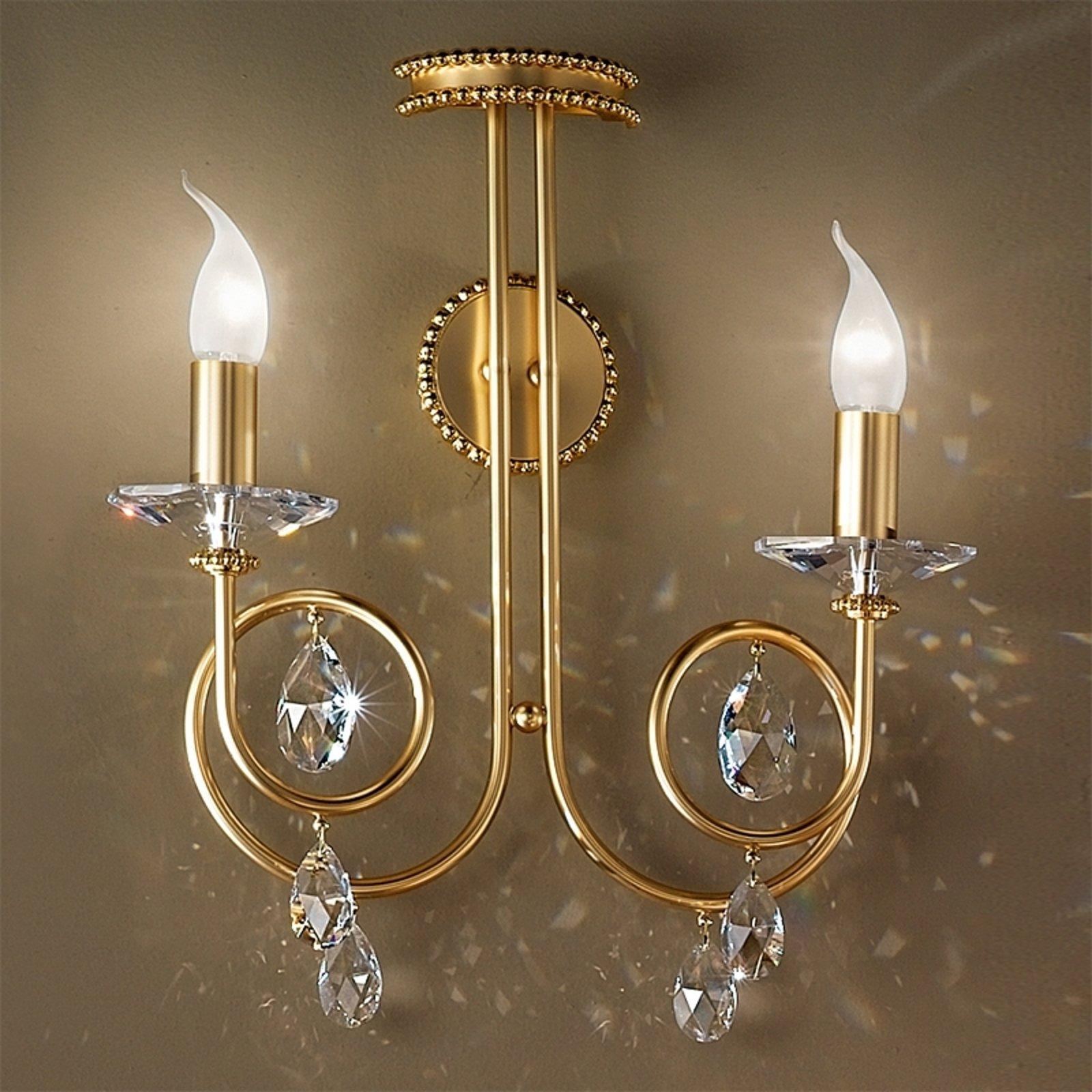 Vakker VIOLETTA vegglampe i gull med to lys