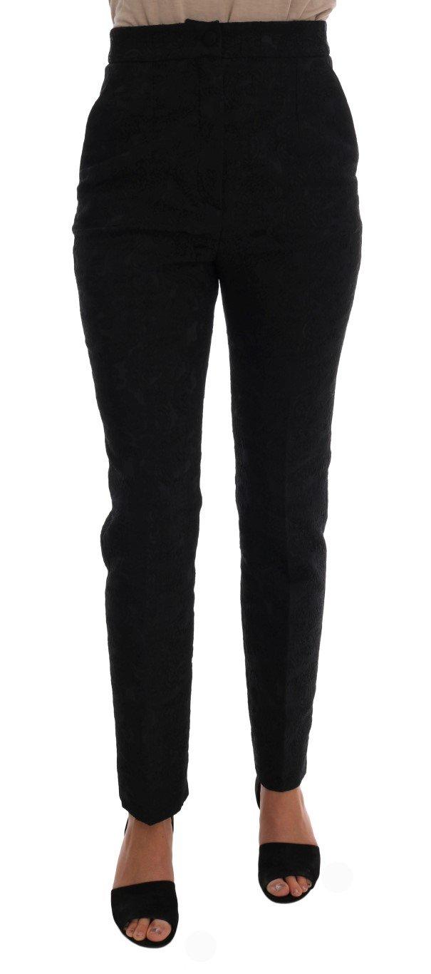 Dolce & Gabbana Women's Floral Brocade High Waist Trouser Black BYX1088 - IT40|S