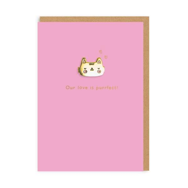 Valentines Cat Enamel Pin Greeting Card