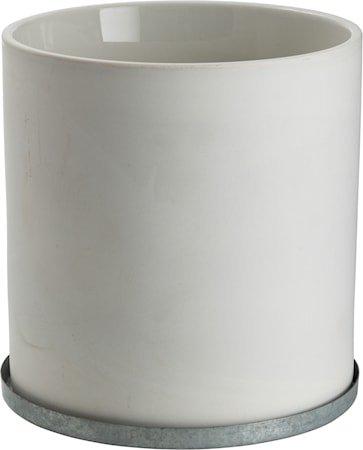 Krukke med sinkfat 19 cm – Hvit
