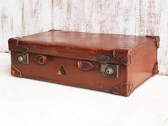 Vintage Leather Suitcase No Handle Brown