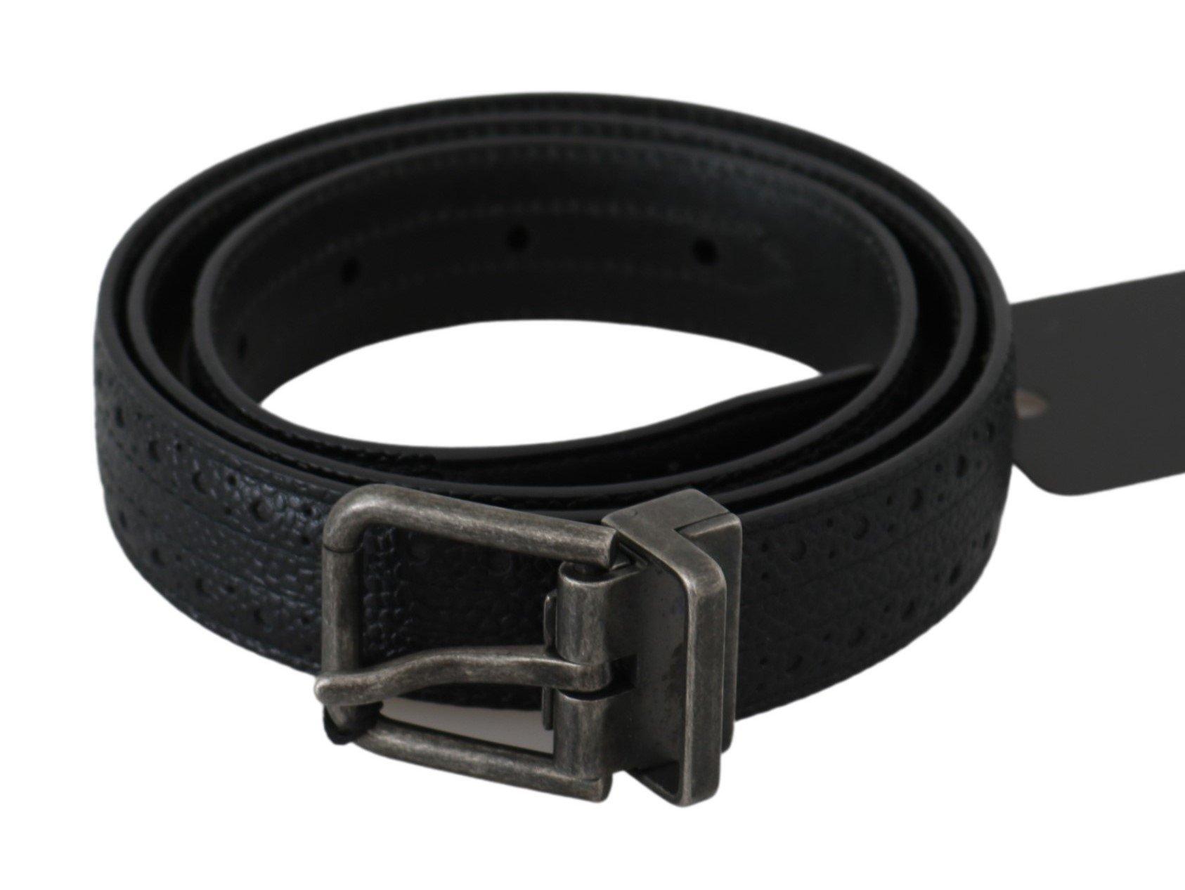 Dolce & Gabbana Men's Buckle Waist Leather Belt Gray BEL60476 - 85 cm / 34 Inches