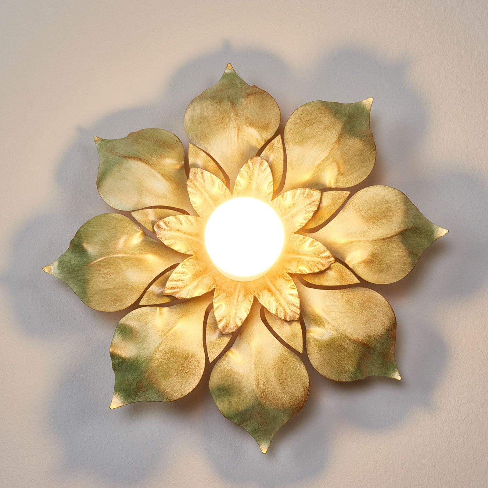 Blossom florentiner-taklampe i antikk grønn