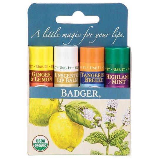 Badger Ekologiska Läppbalsam Classic Blue, 4-pack