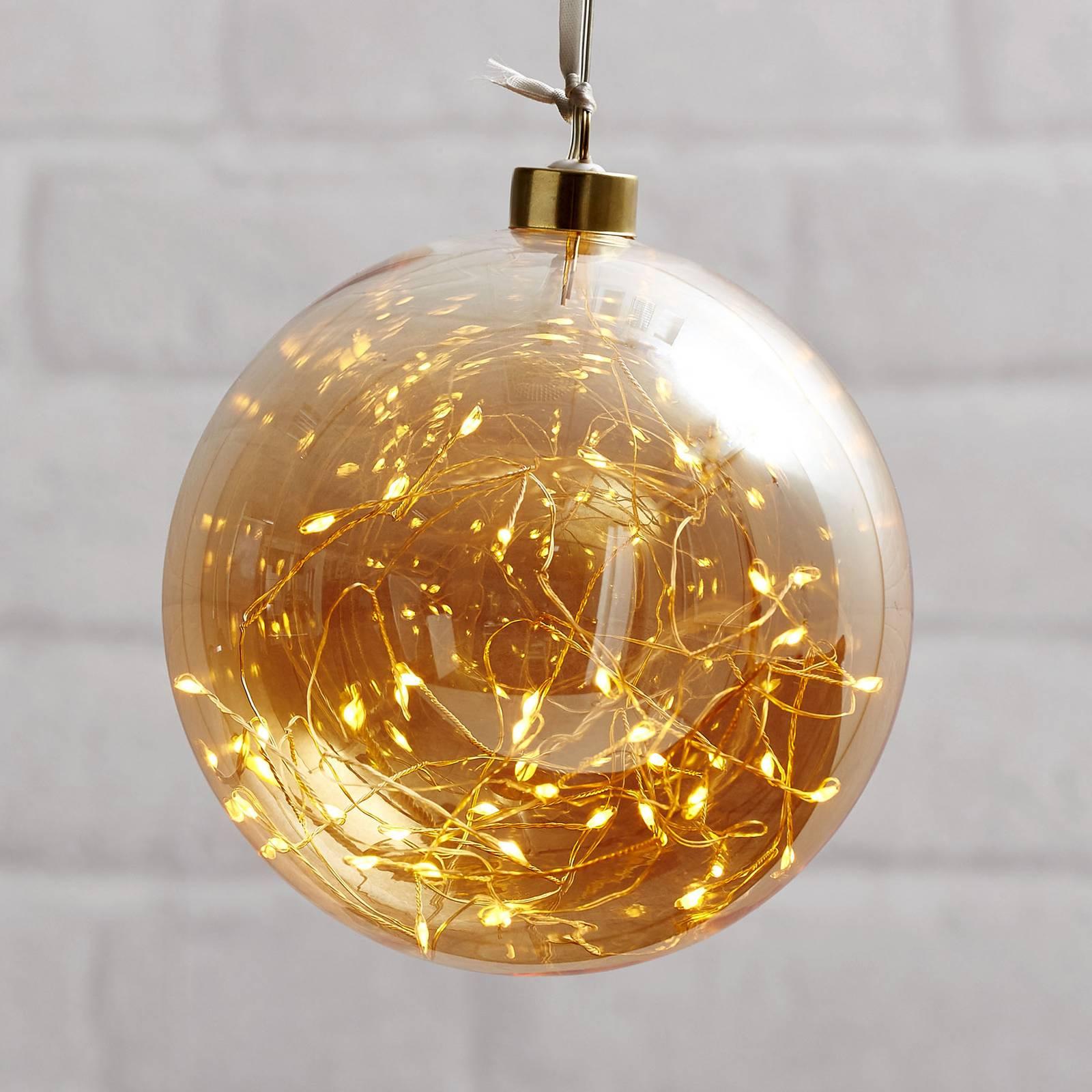 Glow-LED-koristepallo lasia, Ø 15 cm keltainen