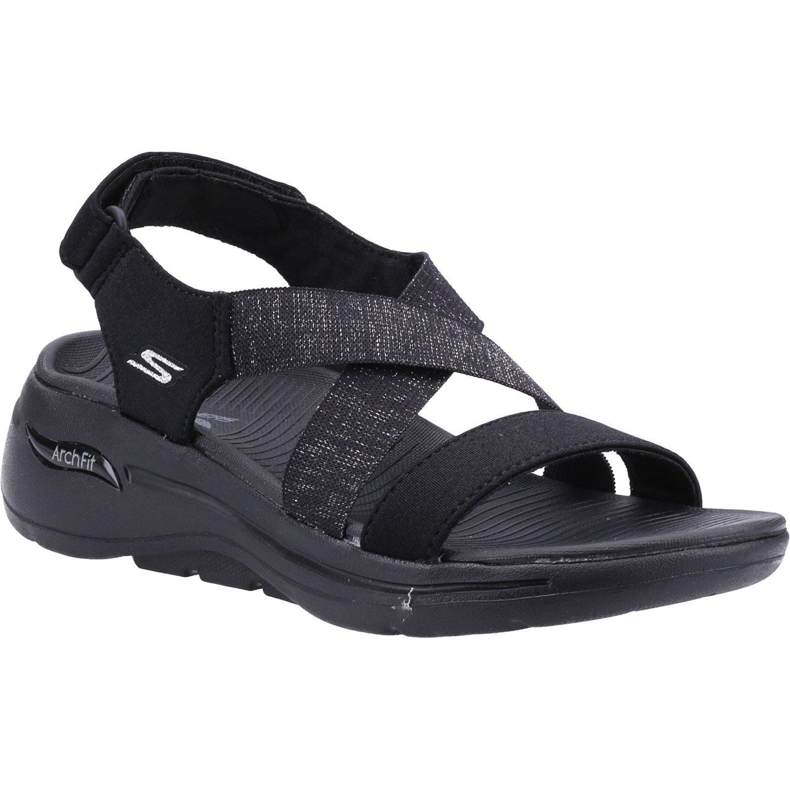 Skechers Women's Go Walk Arch Fit Astonish Summer Sandal Various Colours 32153 - Black 7