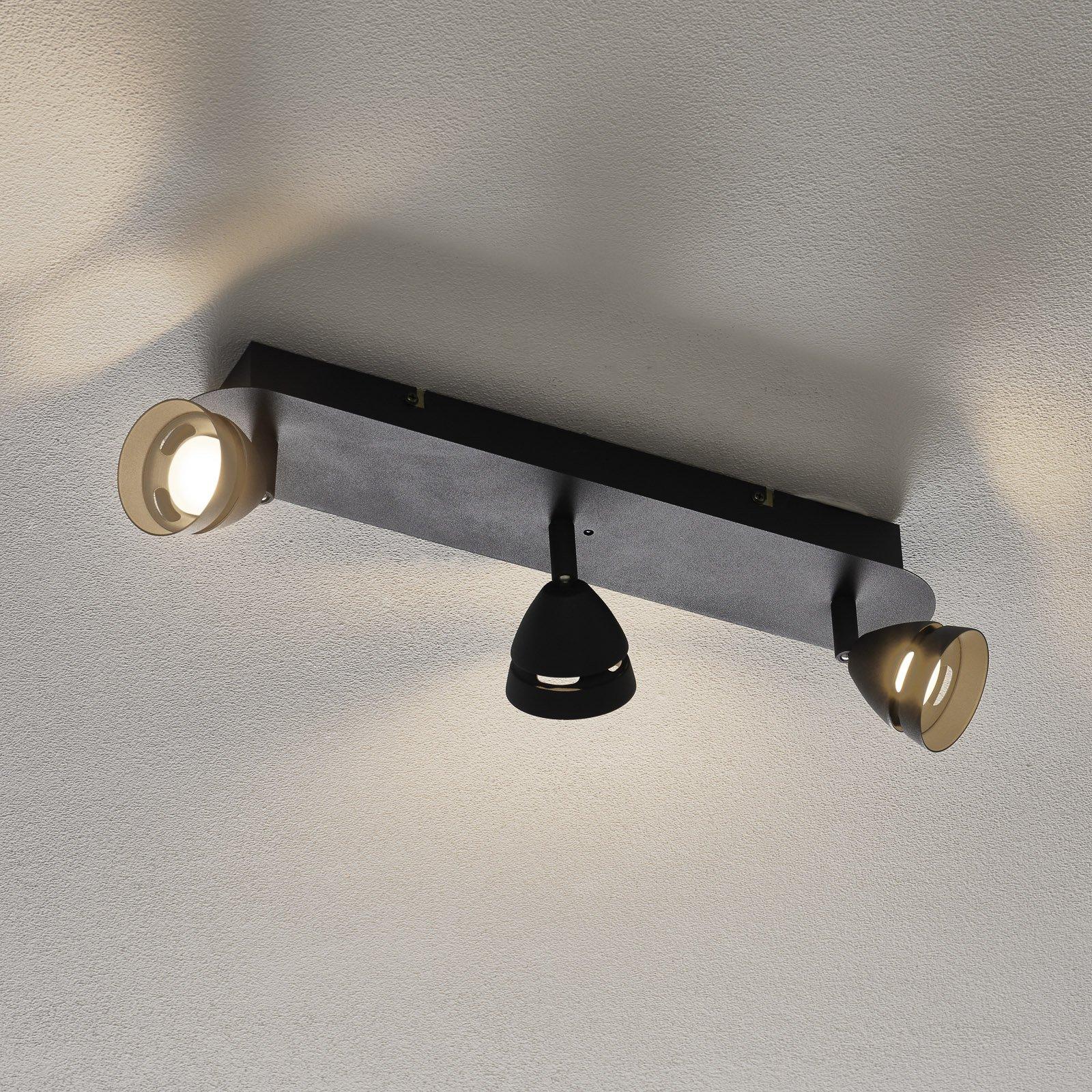 Trio WiZ Gemini LED-taklampe, 3 lys, svart