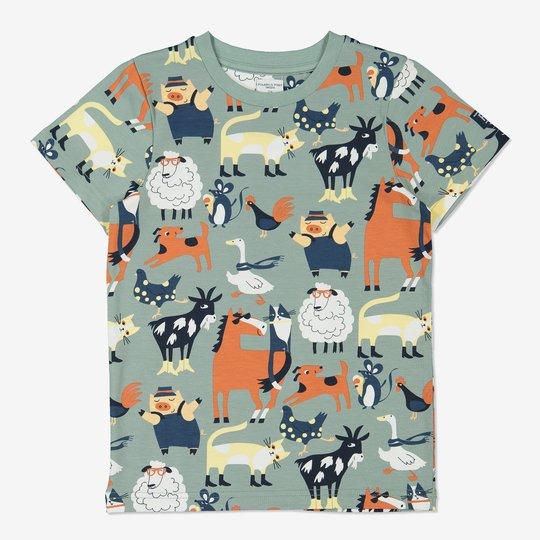 T-skjorte med bondegårdstrykk grønn