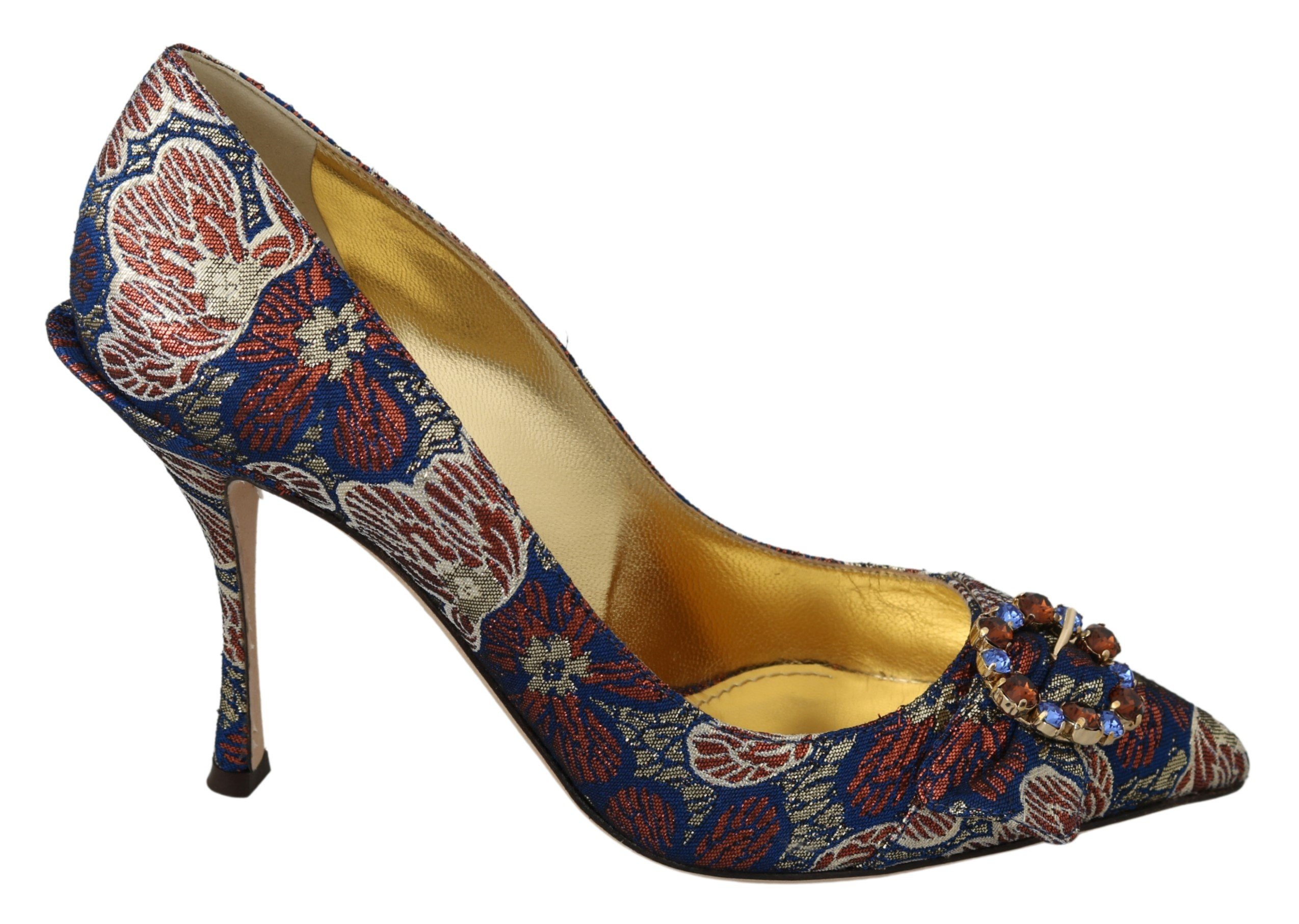 Dolce & Gabbana Women's Crystal Jacquard High Heel Pumps Blue LA7035 - EU39/US8.5