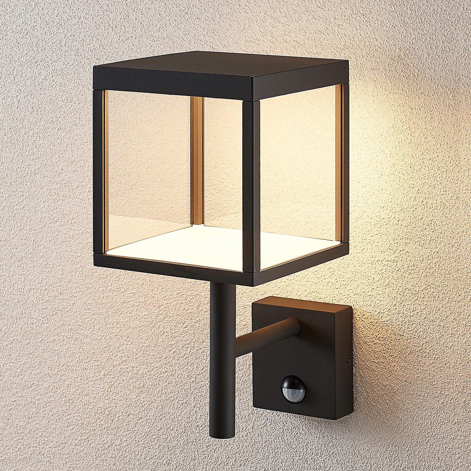 Utendørs LED-vegglampe Cube, grafittgrå, sensor