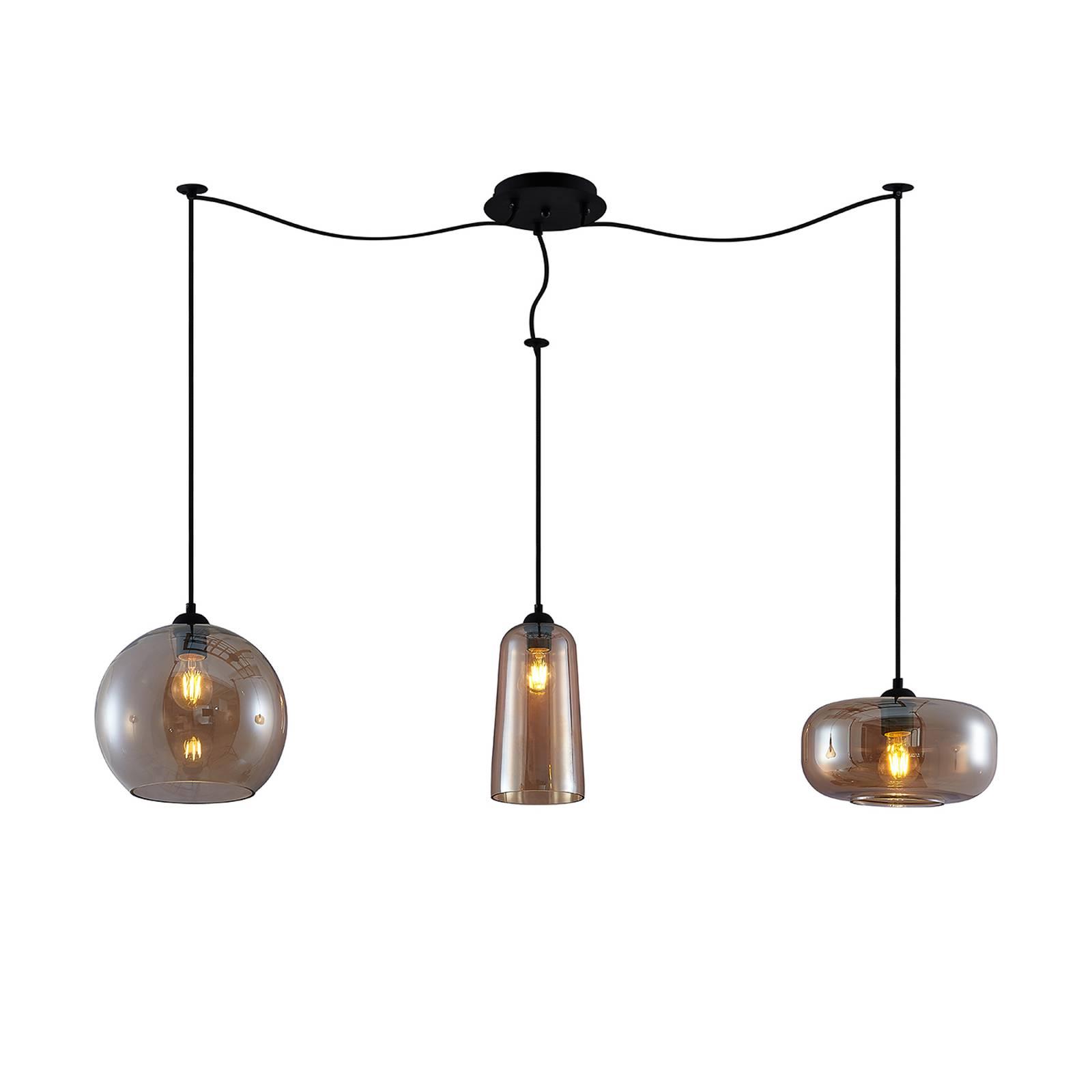 Lucande Zyli -riippuvalo, 3-lamppuinen, amber