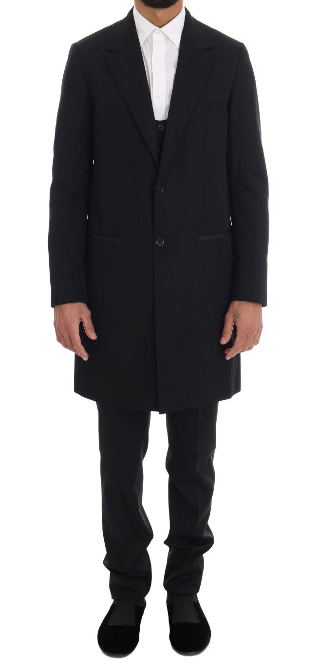 Dolce & Gabbana Men's Wool Long 3 Piece Suit Black KOS1124 - IT52 | XL