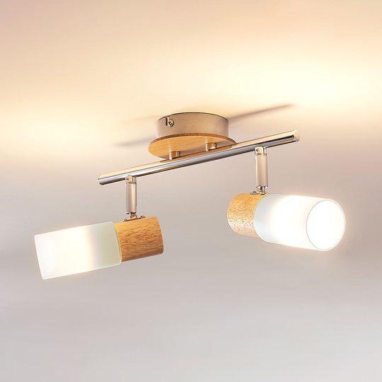 Kaksilamppuinen LED-kohdevalaisin Christoph, puuta